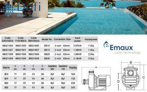 Thông số kỹ thuật máy bơm Emaux SB